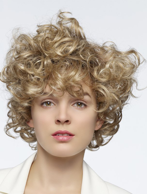 "Blonde Curly 14"" With Bangs Human Hair Wigs"