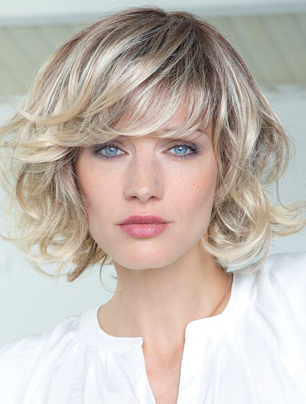 "Blonde Curly 12"" With Bangs Human Hair Wigs"