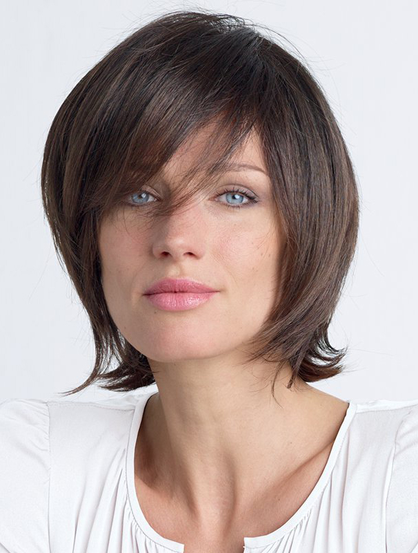 "Brown Straight 10"" With Bangs Lace Front Wigs"