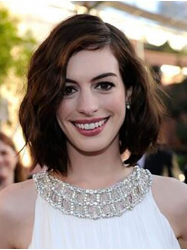 """Brown Chin Length Wavy Bobs Synthetic 12"""" Trendy Anne Hathaway Wigs"""