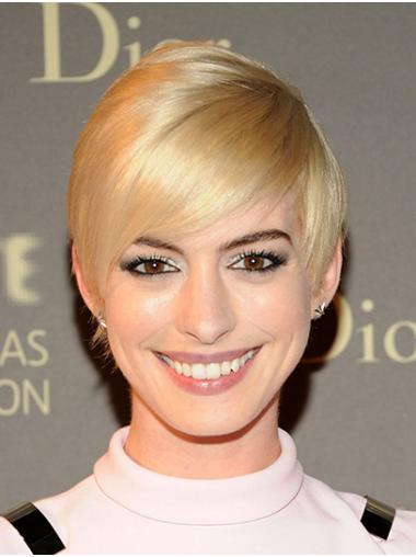 """Blonde Short Straight Boycuts Synthetic 8"""" Comfortable Anne Hathaway Wigs"""