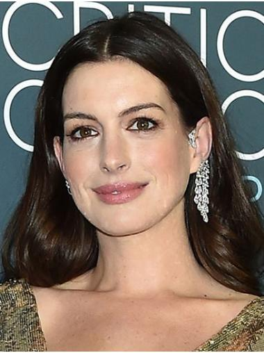 "Black to Brown Long Wavy Without Bangs Synthetic 16"" Great Anne Hathaway Wigs"