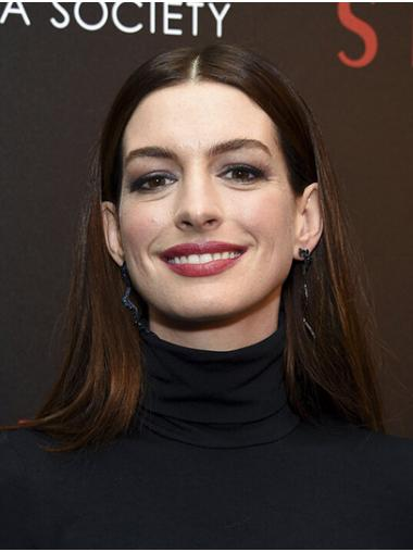 "Black to Brown Long Straight Without Bangs Synthetic 16"" No-fuss Anne Hathaway Wigs"
