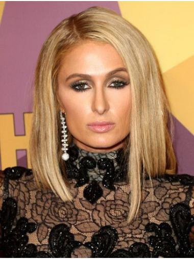 "Blonde Shoulder Length Straight Bobs Synthetic 14"" Ideal Paris Hilton Wigs"
