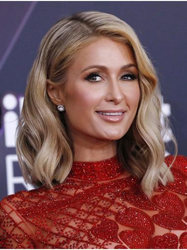 "Grey Shoulder Length Wavy Without Bangs Synthetic 14"" Sleek Paris Hilton Wigs"