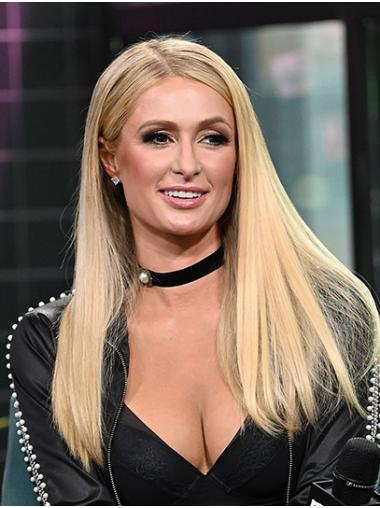 """Blonde Long Straight Without Bangs Remy Human Hair 20"""" Online Paris Hilton Wigs"""