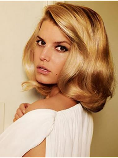 """Blonde Shoulder Length Wavy Without Bangs Synthetic 14"""" Soft Jessica Simpson Wigs"""