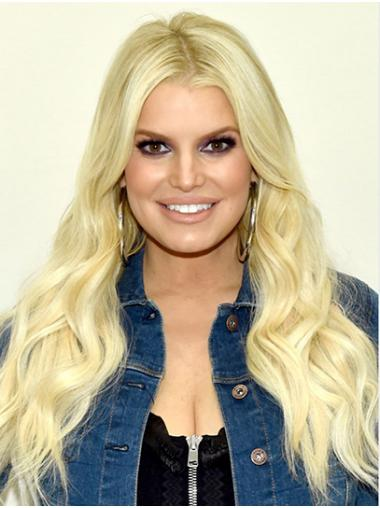 "Blonde Long Wavy Without Bangs Synthetic 22"" Durable Jessica Simpson Wigs"