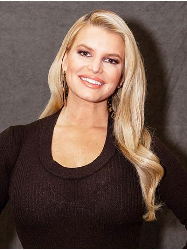 """Blonde Long Wavy Without Bangs Synthetic 22"""" No-fuss Jessica Simpson Wigs"""