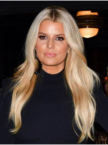"""Blonde Long Wavy Without Bangs Synthetic 22"""" Perfect Jessica Simpson Wigs"""