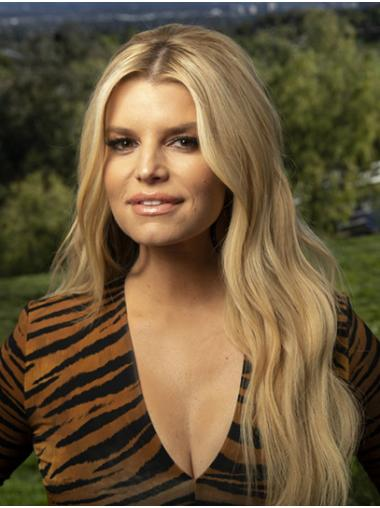 """Blonde Long Wavy Without Bangs Synthetic 26"""" Fashionable Jessica Simpson Wigs"""