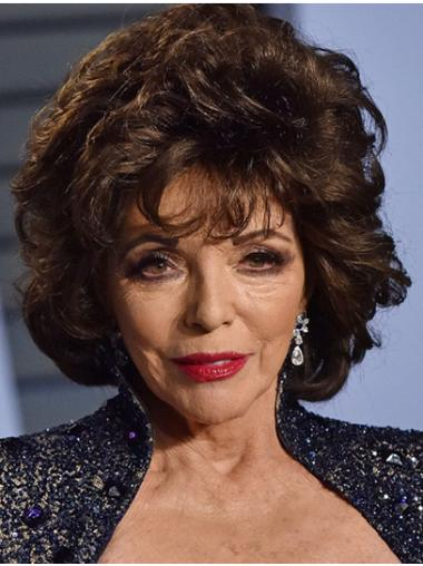 """Brown Chin Length Curly Classic Synthetic 12"""" Convenient Joan Collins Wigs"""