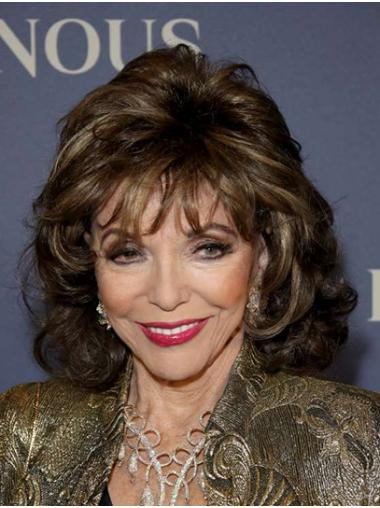"Brown Shoulder Length Curly Classic Synthetic 14"" Durable Joan Collins Wigs"