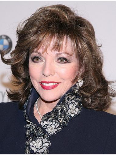 """Brown Shoulder Length Curly Classic Synthetic 14"""" Great Joan Collins Wigs"""