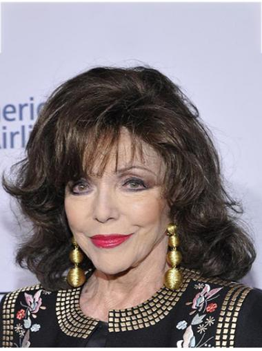 """Brown Shoulder Length Curly Classic Remy Human Hair 14"""" Exquisite Joan Collins Wigs"""