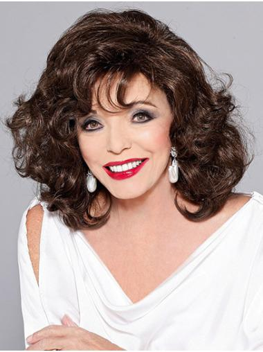"Brown Shoulder Length Curly Classic Synthetic 14"" No-fuss Joan Collins Wigs"