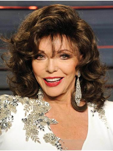 """Brown Shoulder Length Curly Classic Synthetic 14"""" Ideal Joan Collins Wigs"""