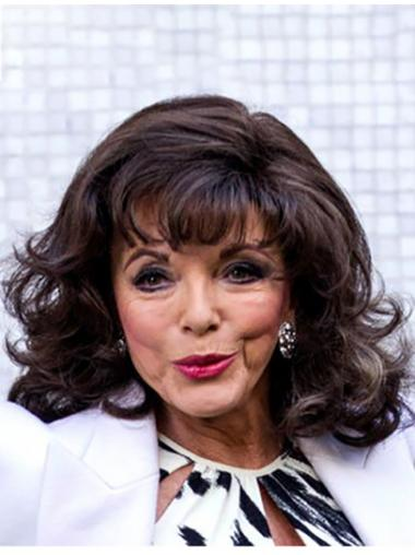 """Brown Shoulder Length Curly Classic Synthetic 14"""" Fashionable Joan Collins Wigs"""