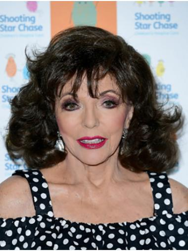 """Brown Shoulder Length Curly Classic Synthetic 14"""" Convenient Joan Collins Wigs"""