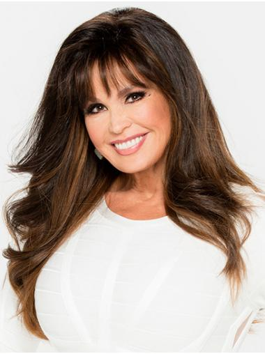 """Ombre/2 Tone Long Wavy With Bangs Synthetic 22"""" Designed Marie Osmond Wigs"""