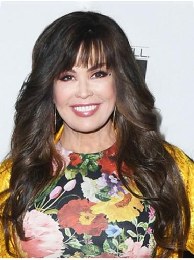 """Brown Long Wavy With Bangs Synthetic 22"""" Flexibility Marie Osmond Wigs"""