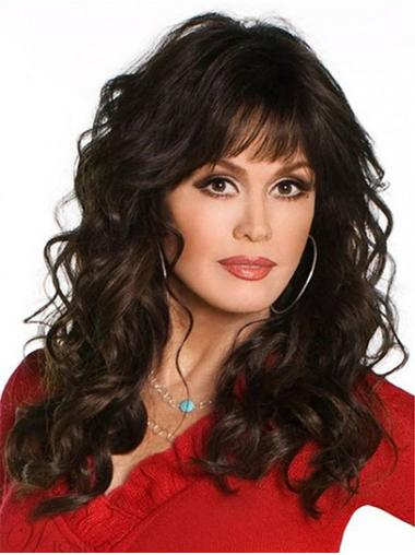 "Black to Brown Long Curly With Bangs Synthetic 18"" High Quality Marie Osmond Wigs"