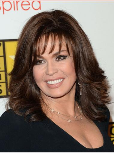 "Brown Shoulder Length Wavy With Bangs Synthetic 14"" Modern Marie Osmond Wigs"