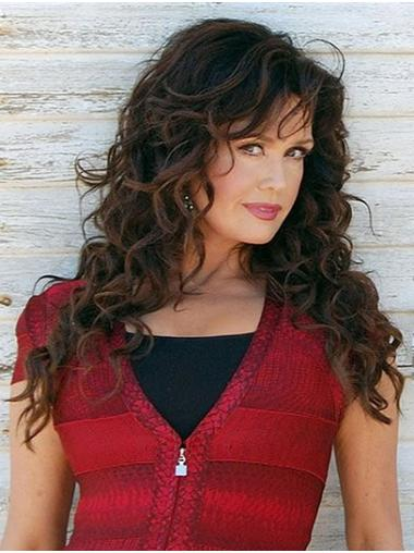 """Brown Long Curly Layered Synthetic 20"""" Best Marie Osmond Wigs"""