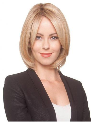 Blonde Beautiful Straight Chin Length Synthetic Bob Wigs