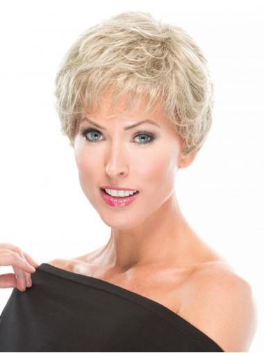 "100% Hand-tied 4"" Wavy Blonde Great Short Wigs"