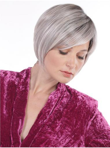 Straight Chin Length Monofilament Synthetic Cheap Grey Wigs