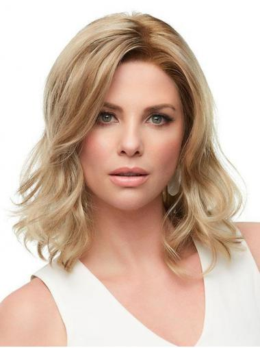 Wavy Layered Soft Blonde Monofilament Medium Wigs