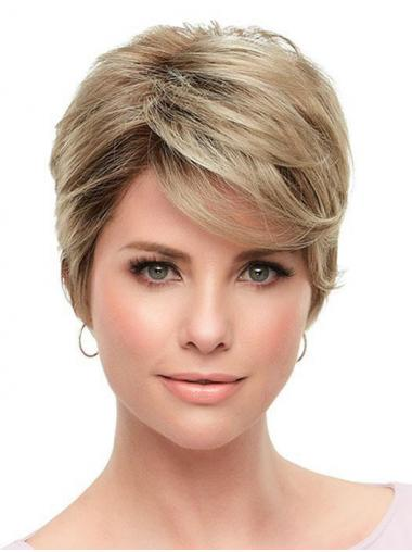 "Great Straight Synthetic Blonde 6"" Short Wigs"