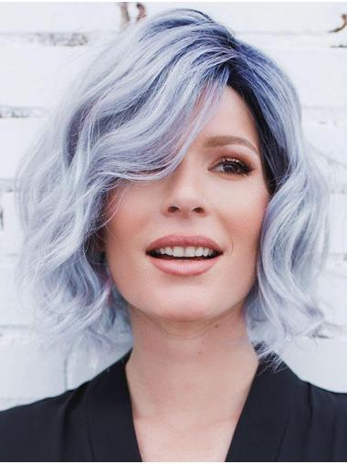 "10"" Chin Length Synthetic Blue Fashion Bob Wigs"