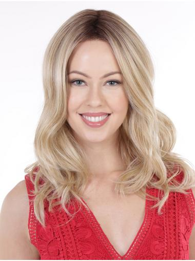 Long Hairstyles Without Bangs Wavy Blonde Lace Front Wigs