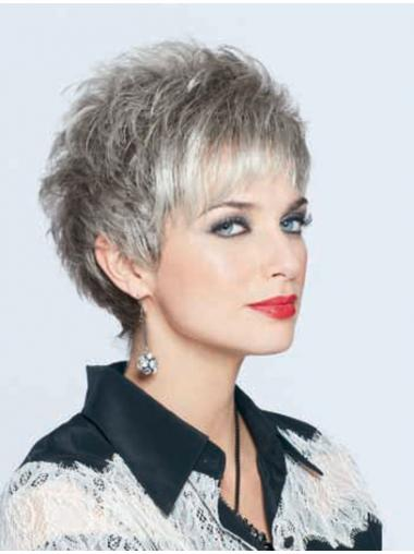 Straight Durable Grey Wigs
