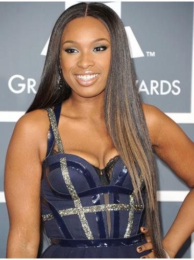 Brown Indian Remy Hair Straight No-fuss Jennifer Hudson wigs