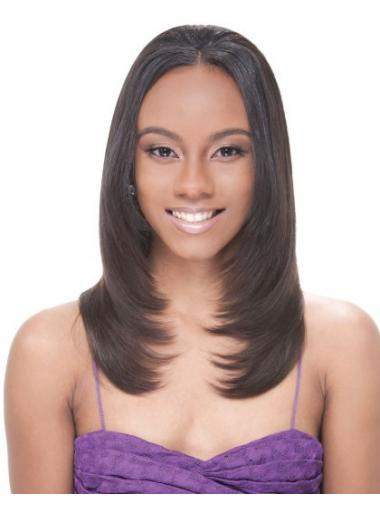 Brown Indian Remy Hair Straight Natural African American Wigs