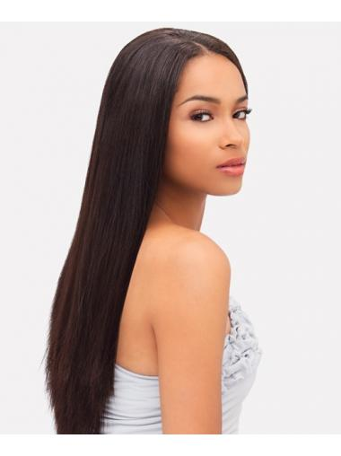 Soft Auburn Indian Remy Hair Straight Long Wigs