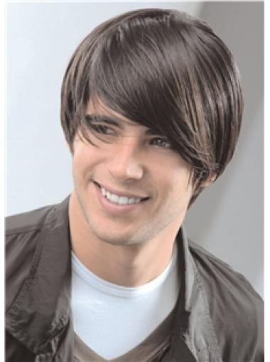 Brown Remy Human Hair Style Men Wigs