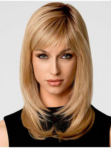 Blonde Wavy Layered High Quality Medium Wigs