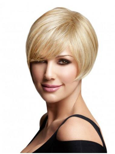 Fashion Blonde Bobs Straight Remy Human Lace Wigs