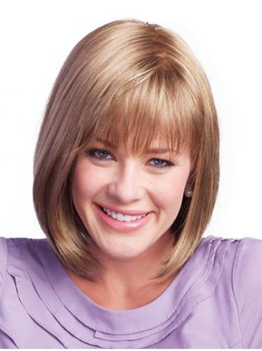 High Quality Brown Bobs Straight Medium Wigs