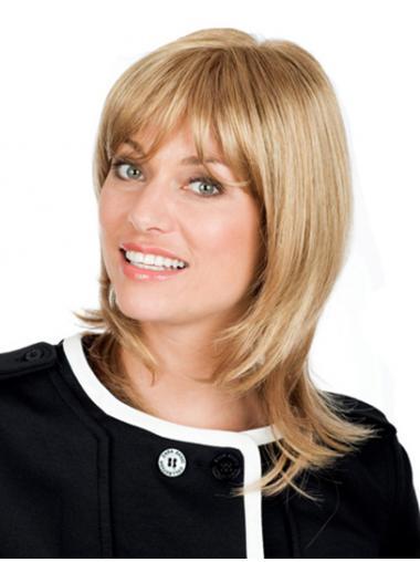 Wavy Blonde With Bangs Fabulous Medium Wigs