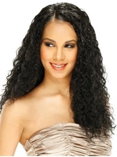 Curly Black Without Bangs Cheapest Remy Human Lace Wigs