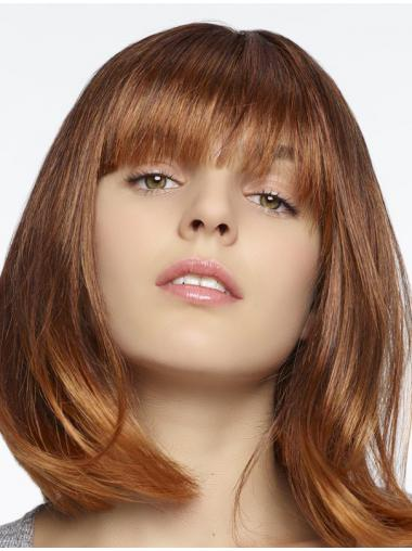 100% Hand-tied Auburn Straight Designed Medium Wigs