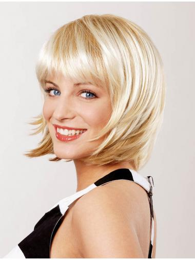 Straight Blonde Bobs Cheap Medium Wigs