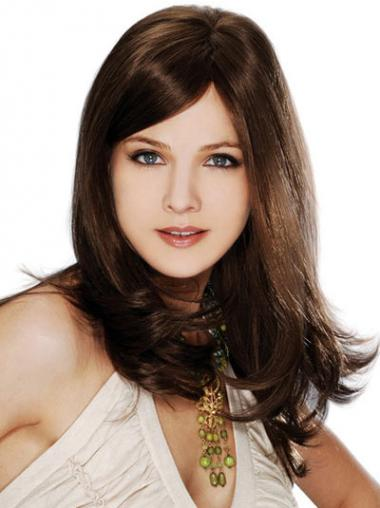 Straight Brown Layered Ideal Long Wigs
