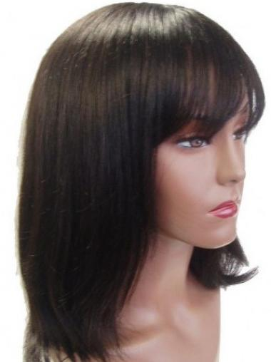 Popular Straight Brown With Bangs Medium Wigs