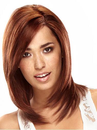 Auburn Layered Straight Natural Remy Human Lace Wigs